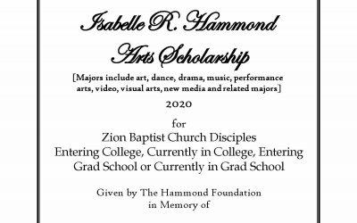Isabelle R. Hammond Arts Scholarship 2020