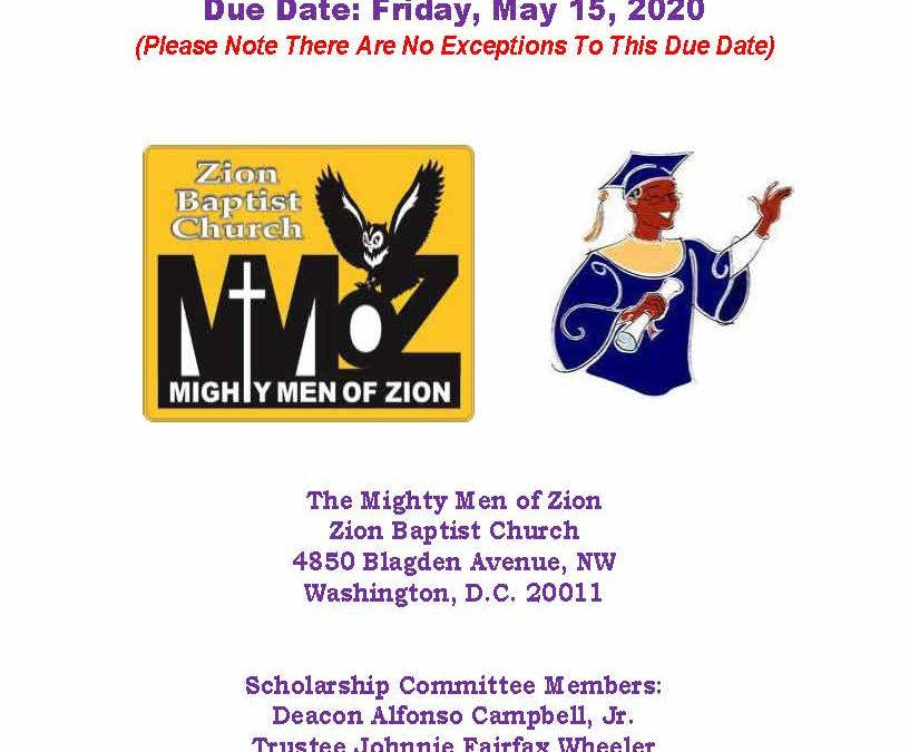 Mighty Men of Zion 2020 Scholarship Application Form