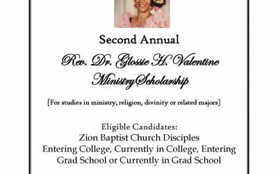 Rev. Dr. Glossie H. Valentine Ministry Scholarship