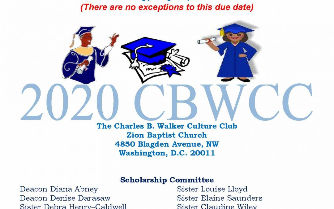 Charles B. Walker Culture Club 2020 Scholarship Application Form