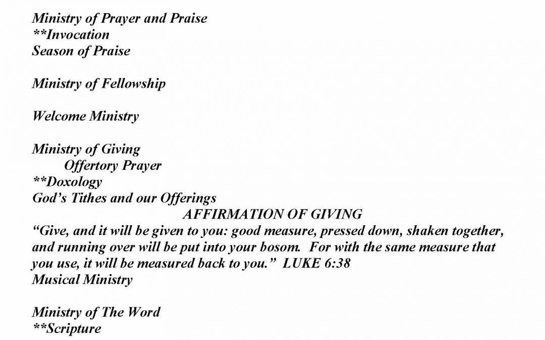Church Bulletin Sunday, April 19, 2020