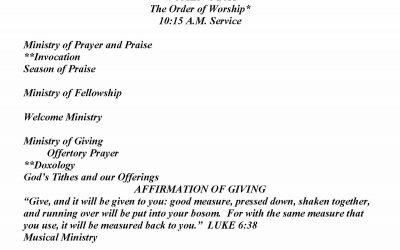 Church Bulletin Sunday, May 10, 2020