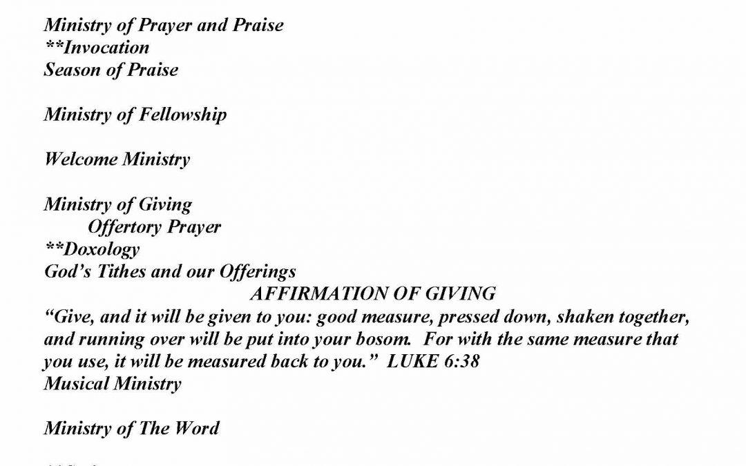 Church Bulletin Sunday, August 30,  2020