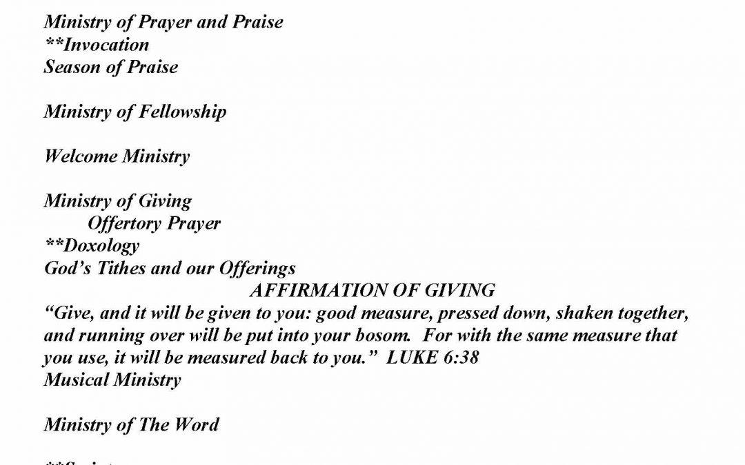 Church Bulletin Sunday, August 9, 2020
