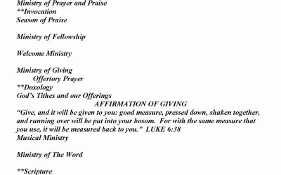 Church Bulletin Sunday, September 6, 2020