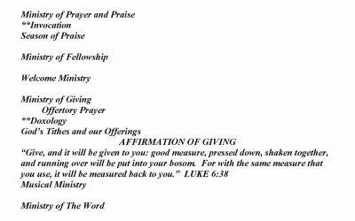 Church Bulletin Sunday, October 18, 2020