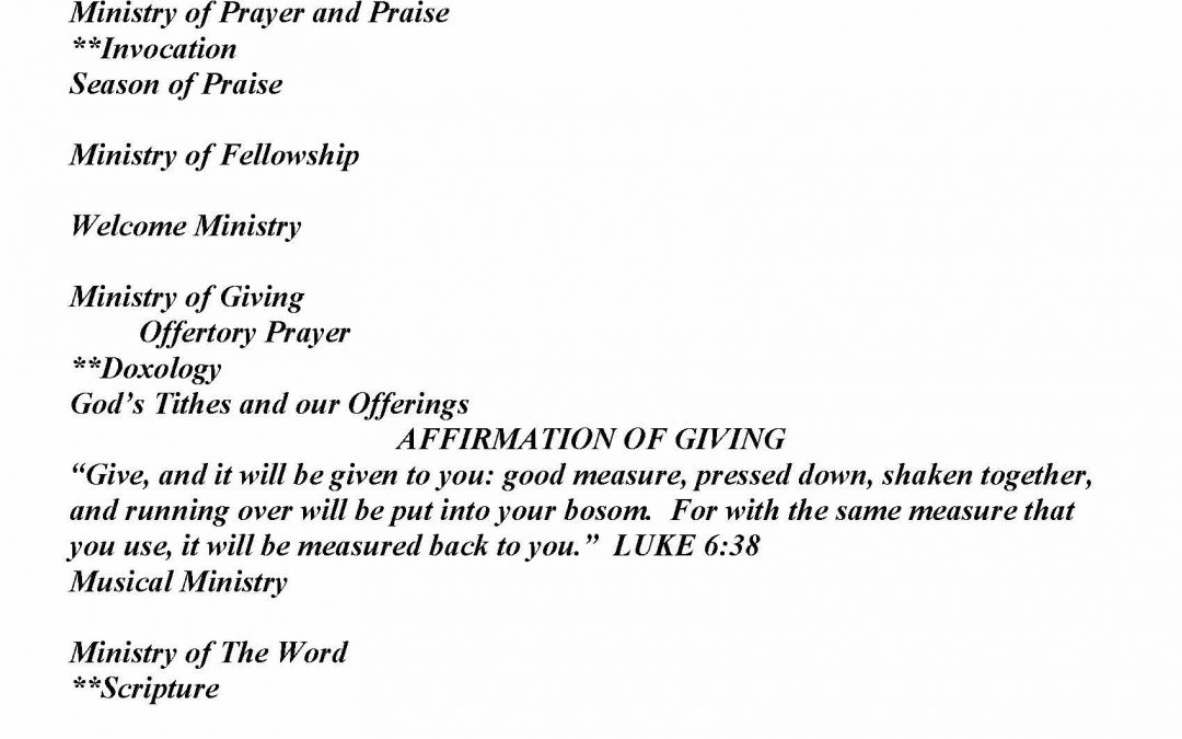 Church Bulletin Sunday, November 22, 2020