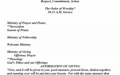 Church Bulletin Sunday, December 6, 2020