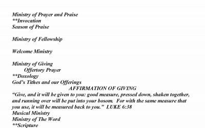Church Bulletin Sunday, December 20, 2020