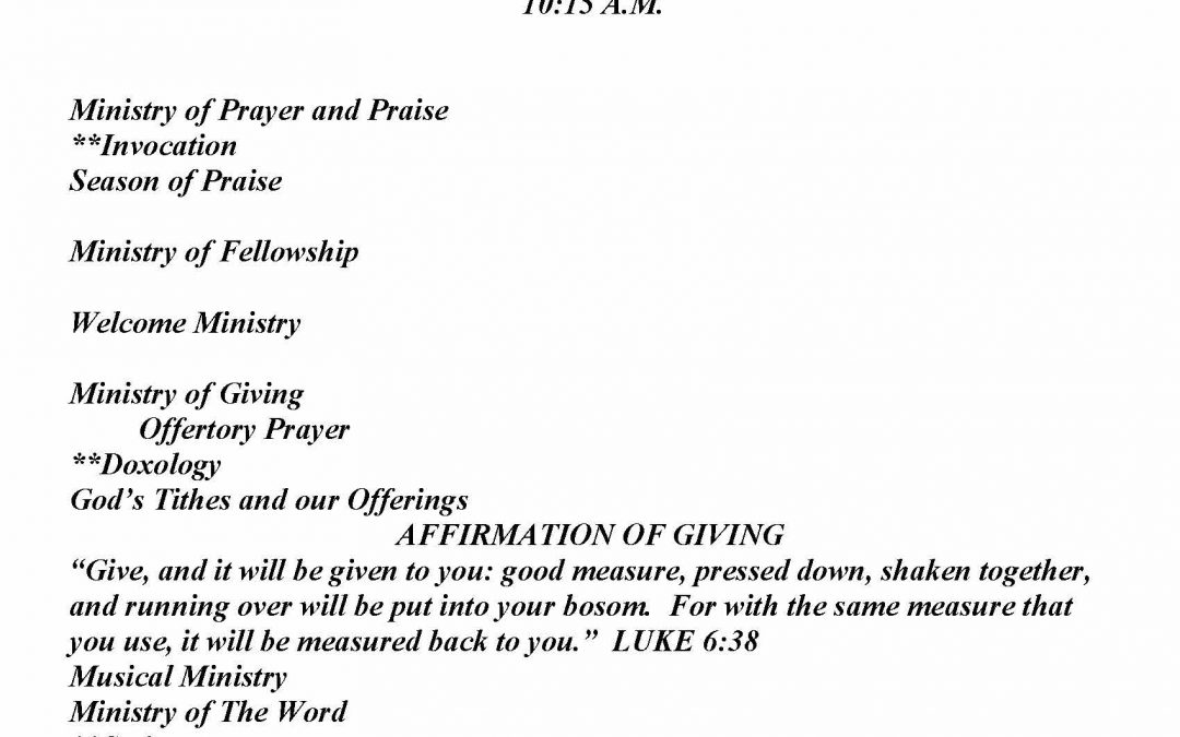 Church Bulletin Sunday, January 17, 2021