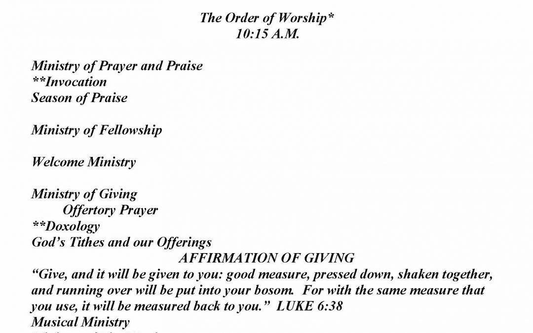 Church Bulletin Sunday, January 24, 2021